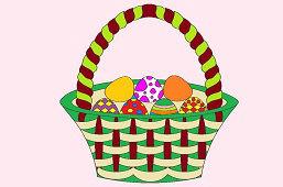 Veľkonočný košík s vajíčkami