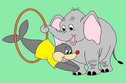 Slon a tuleň v cirkuse
